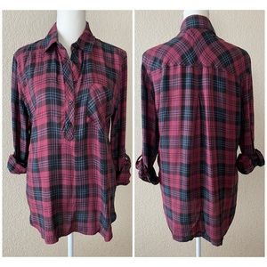 id:23 Plaid half-button up top - x-small